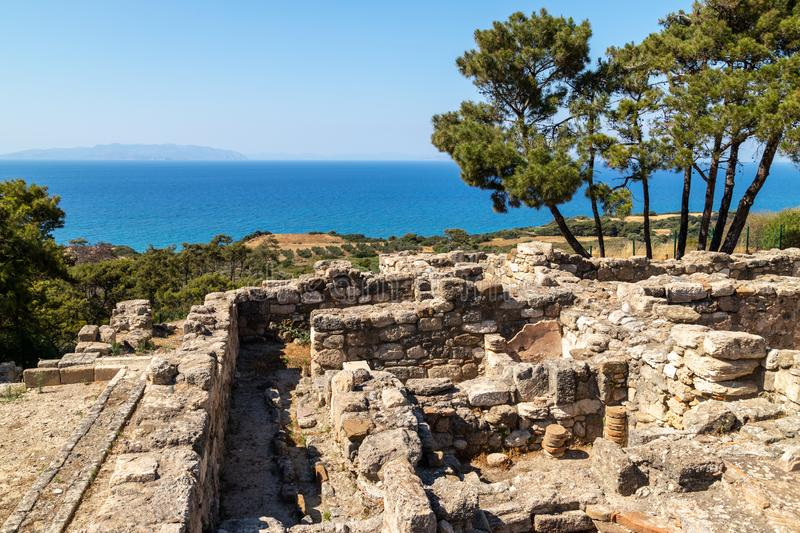 Scenic view from excavation site of the ancient city of Kamiros at the westside of Rhodes island, Greece on the aegaen sea royalty free stock image