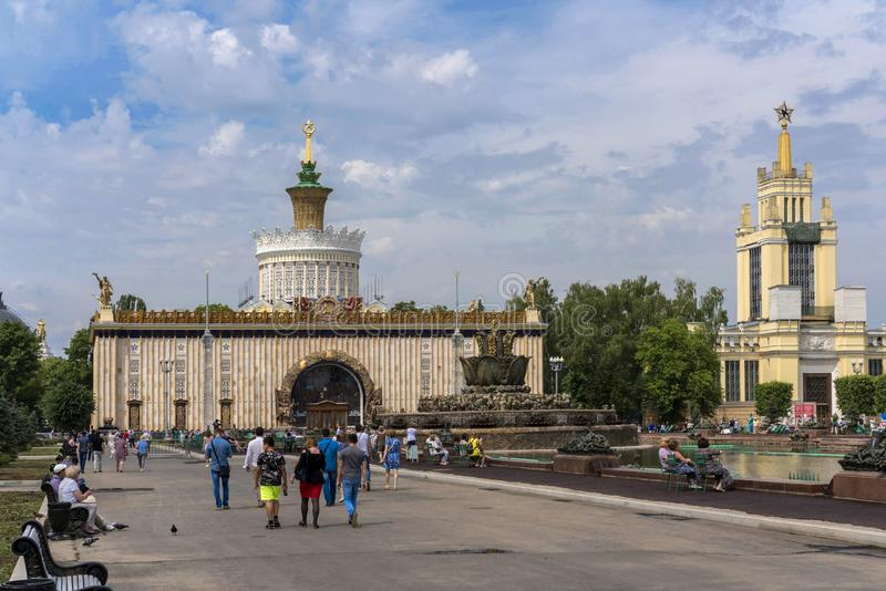 View of the exhibition pavilion in the All-Russian Exhibition Center in Moscow stock photography