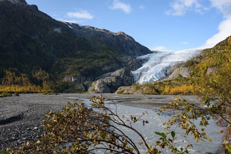 View of Exit Glacier, Harding Ice Field, Kenai Fjords National Park, Seward, Alaska, United States.  stock image