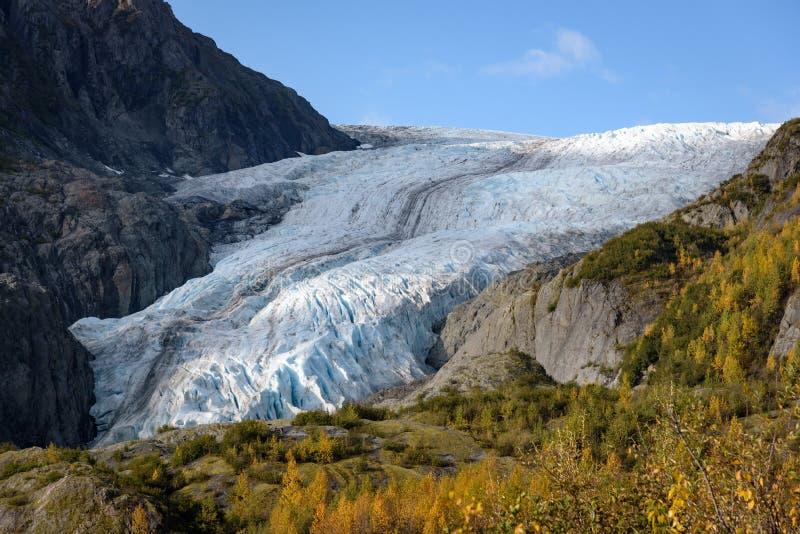 View of Exit Glacier, Harding Ice Field, Kenai Fjords National Park, Seward, Alaska, United States.  stock photos