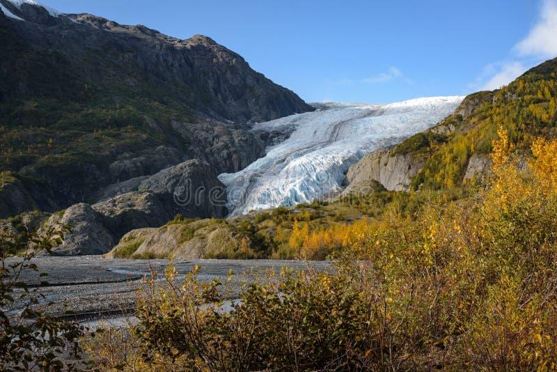 View of Exit Glacier, Harding Ice Field, Kenai Fjords National Park, Seward, Alaska, United States.  stock photography