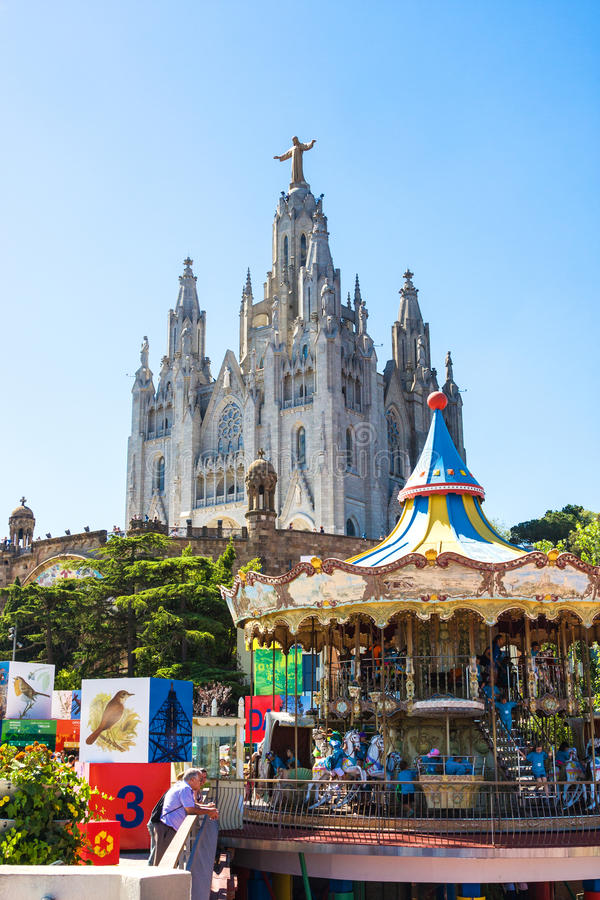 BARCELONA, SPAIN - JULY 13, 2016: View of Expiatory Church of the Sacred Heart of Jesus from the free area of Tibidabo in Barcelon stock image