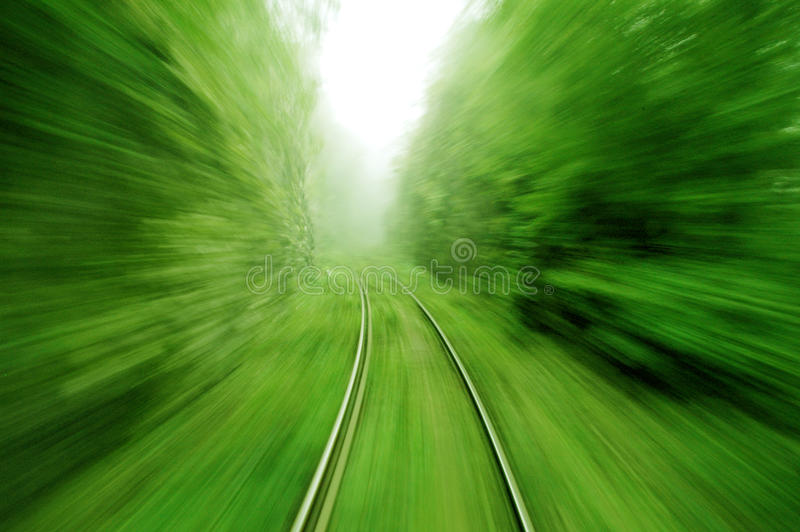 View from an express train on high speed stock photo