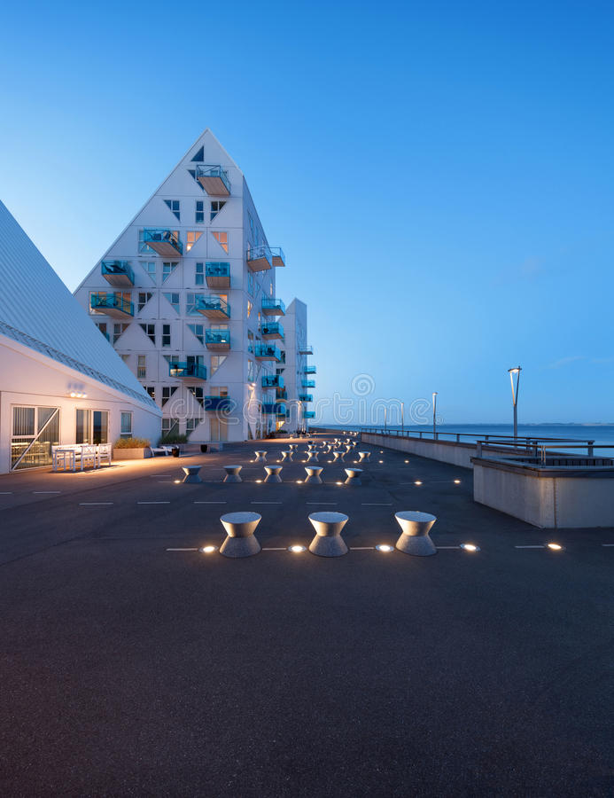 View from external of the Isbjerget Aarhus, residential building royalty free stock photography