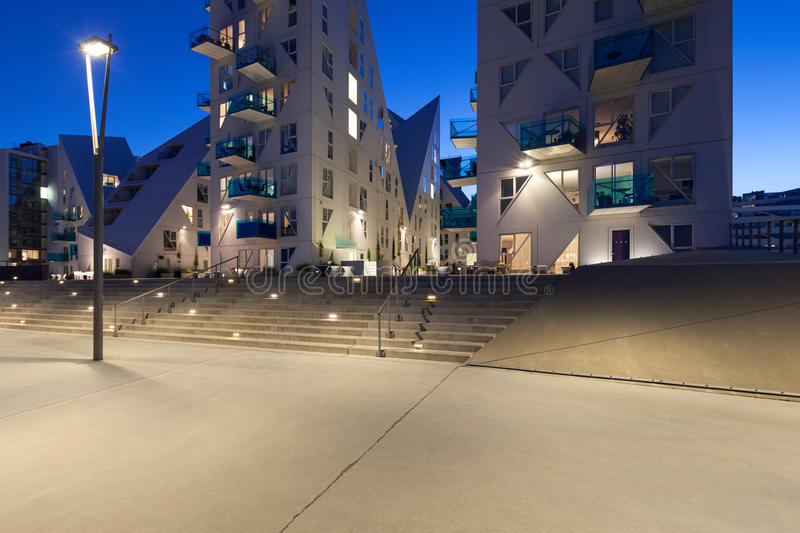 View from external of the Isbjerget Aarhus, residential building royalty free stock images