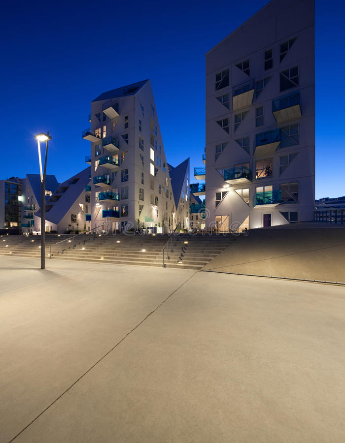 View from external of the Isbjerget Aarhus, residential building royalty free stock photos