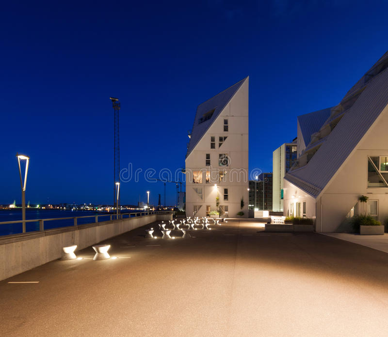 View from external of the Isbjerget Aarhus, residential building stock photo