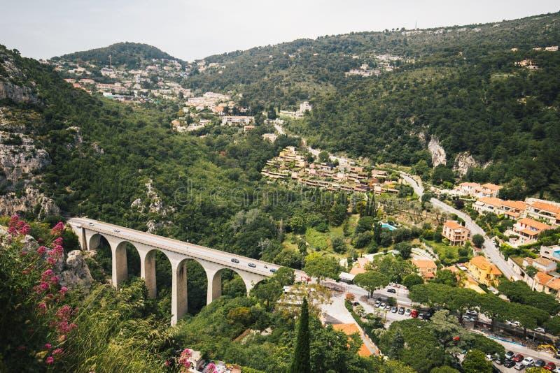 View from Eze Exotic Garden, France. Bridge, hills and vegetation landscape stock photo