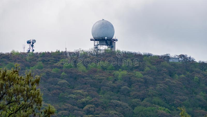 View of FAA Radar on Top of Apple Orchard Mountain royalty free stock photography