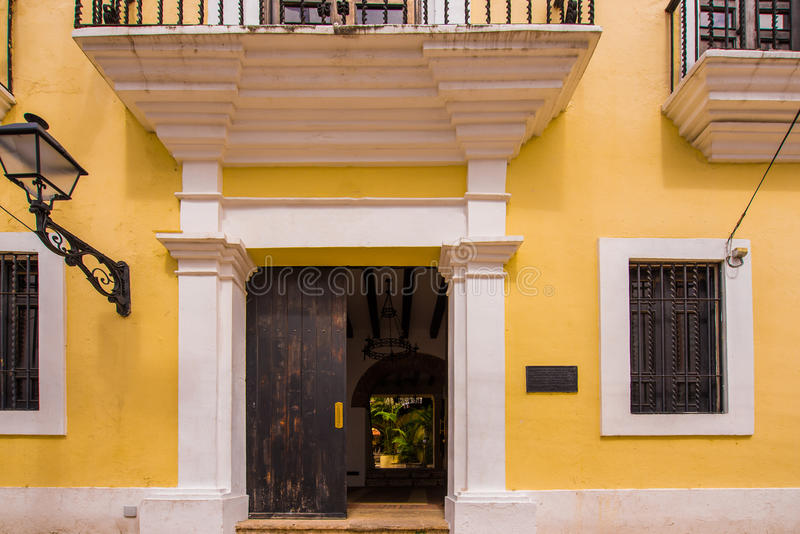 View of the facade of the building, Santo Domingo, Dominican Republic. Copy space for text. royalty free stock photo