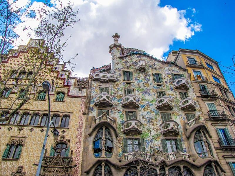 Casa Batllo, Barcelona, Spain. View of the facade of Casa Batllo, one of the masterpieces of Antonio Gaudi royalty free stock photography