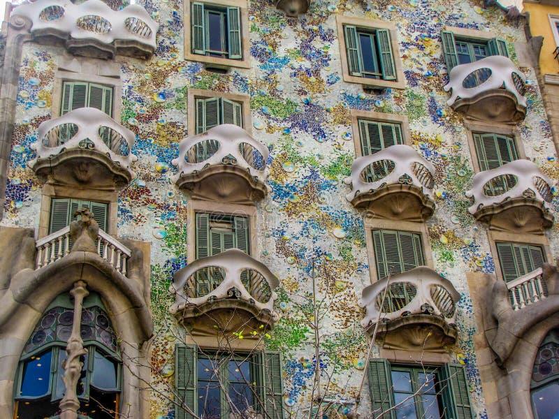 Casa Batllo, Barcelona, Spain. View of the facade of Casa Batllo, one of the masterpieces of Antonio Gaudi royalty free stock image