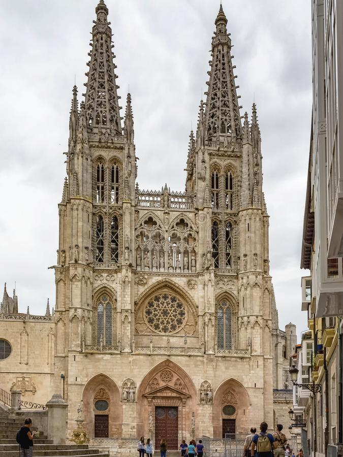 View of the facade of the Cathedral of Burgos royalty free stock photography