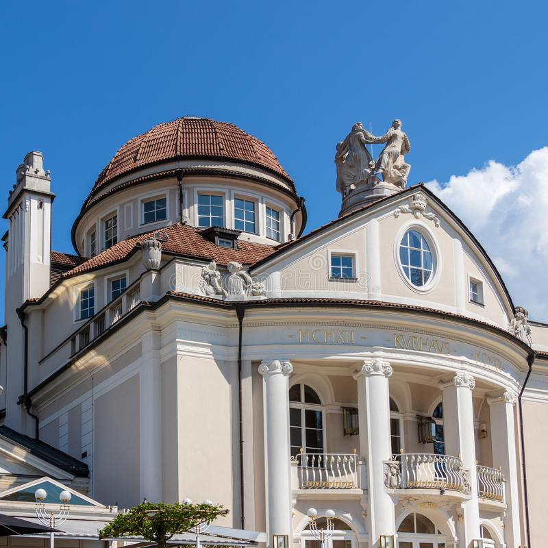 View on Facade of famous historical building Kurhaus in Meran. Province Bolzano, South Tyrol, Italy. Europe. The spa town of Merano lies in the heart of the royalty free stock photos