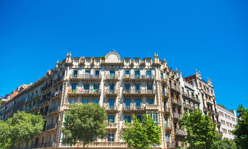 View of the facade of a historic building, Barcelona, Spain.  stock image