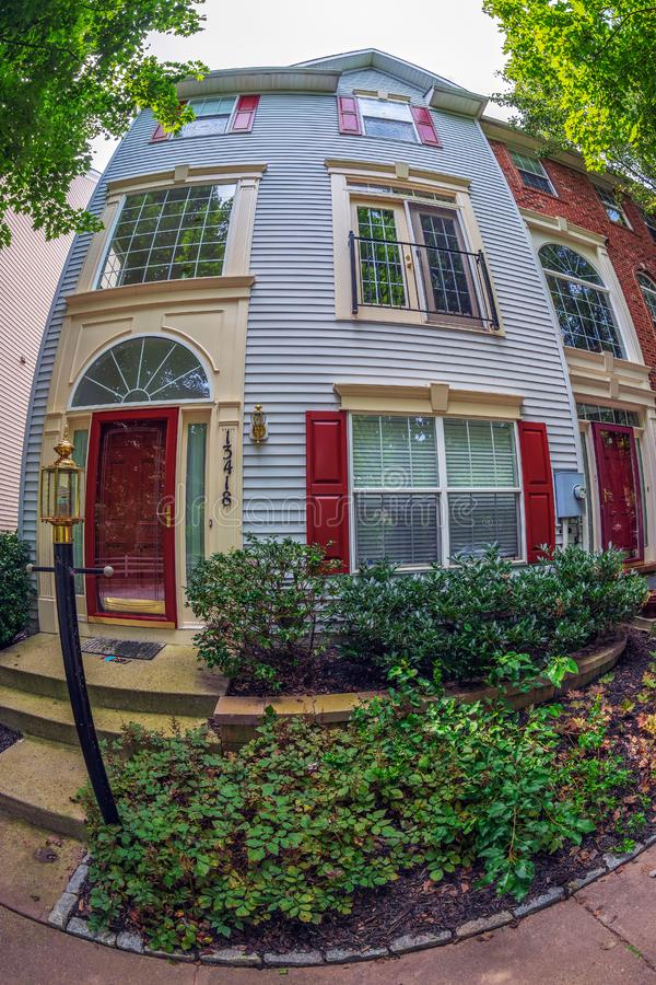View at facade of typical american houses, Maryland, USA. Germantown, Maryland, USA - September 7, 2018: Large angle view at facade of typical american houses stock photography