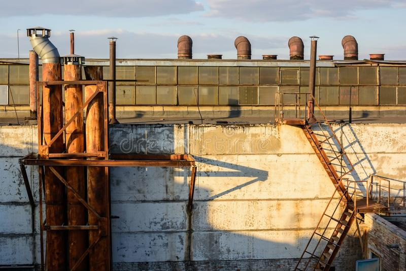 View Of Factory Rooftops On Sunny Day Stock Photo - Image ...