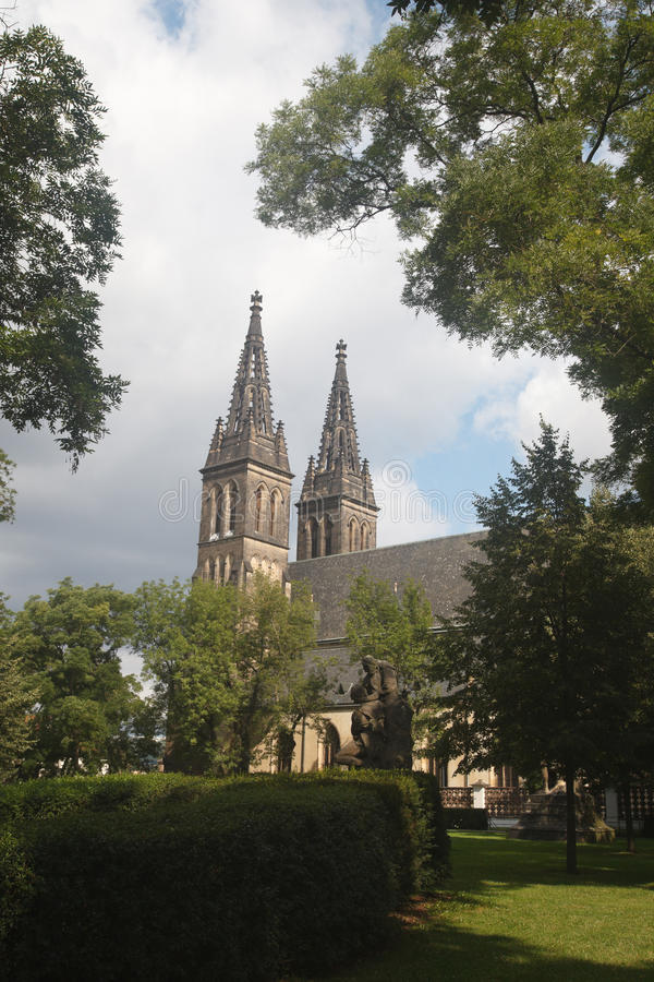 View of the famous basilica of St Peter and St Paul in Vysehrad. Fortress in Prague, Czech Republic royalty free stock image