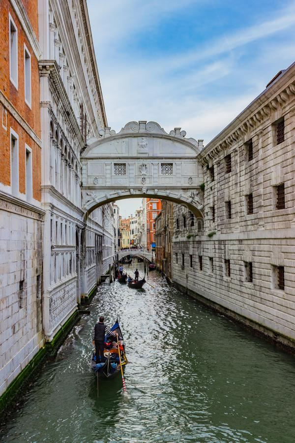 View of the famous Bridge of Sighs in Venice stock images