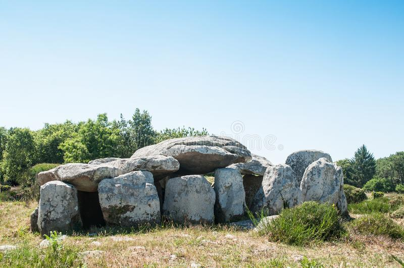 Famous dolmen megalith in Carnac -  Britany - France. View of the famous dolmen megalith in Carnac -  Britany - France stock images