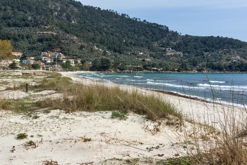 The Famous Golden beach at Thassos island, East Macedonia and Thrace, Greece. View of the Famous Golden beach at Thassos island, East Macedonia and Thrace stock photos