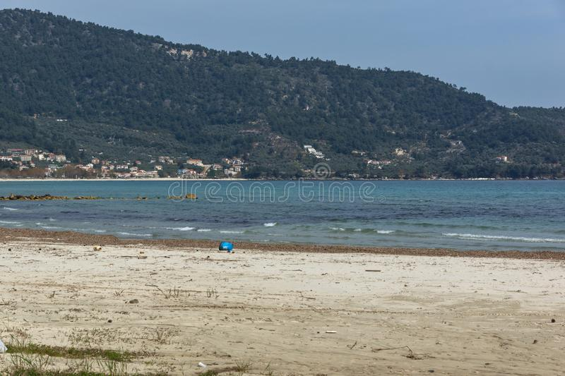 The Famous Golden beach at Thassos island, East Macedonia and Thrace, Greece. View of the Famous Golden beach at Thassos island, East Macedonia and Thrace stock image