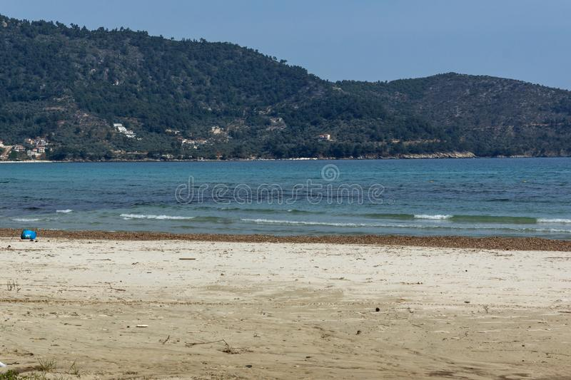 The Famous Golden beach at Thassos island, East Macedonia and Thrace, Greece. View of the Famous Golden beach at Thassos island, East Macedonia and Thrace stock images