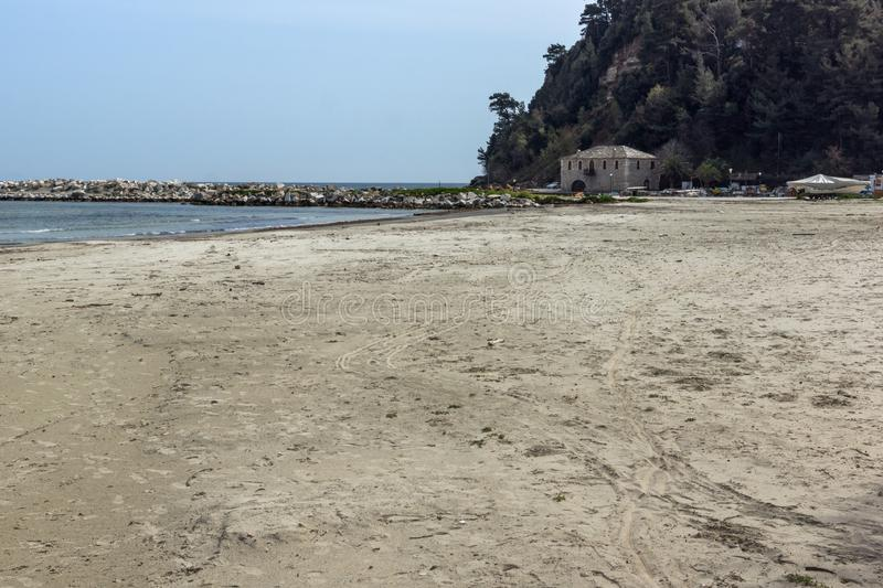 The Famous Golden beach at Thassos island, East Macedonia and Thrace, Greece. View of the Famous Golden beach at Thassos island, East Macedonia and Thrace royalty free stock photos