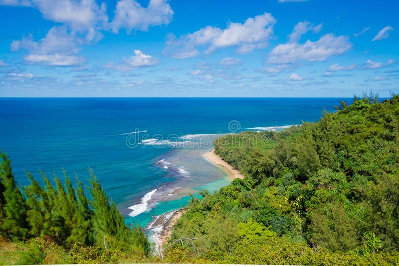 View of the famous Kee Beach in Kauai, Hawaii. Panoramic view of the famous Kee Beach in Kauai, Hawaii, United States royalty free stock image