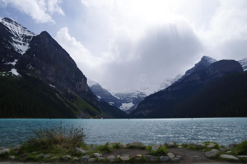 View of the famous lake Louise. Lake Louise is the second most-visited destination in the Banff National Park royalty free stock images