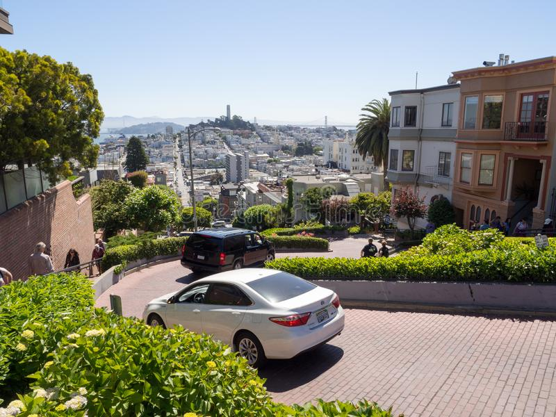 View of famous Lombard Street from Hyde Street on a sunny day royalty free stock image