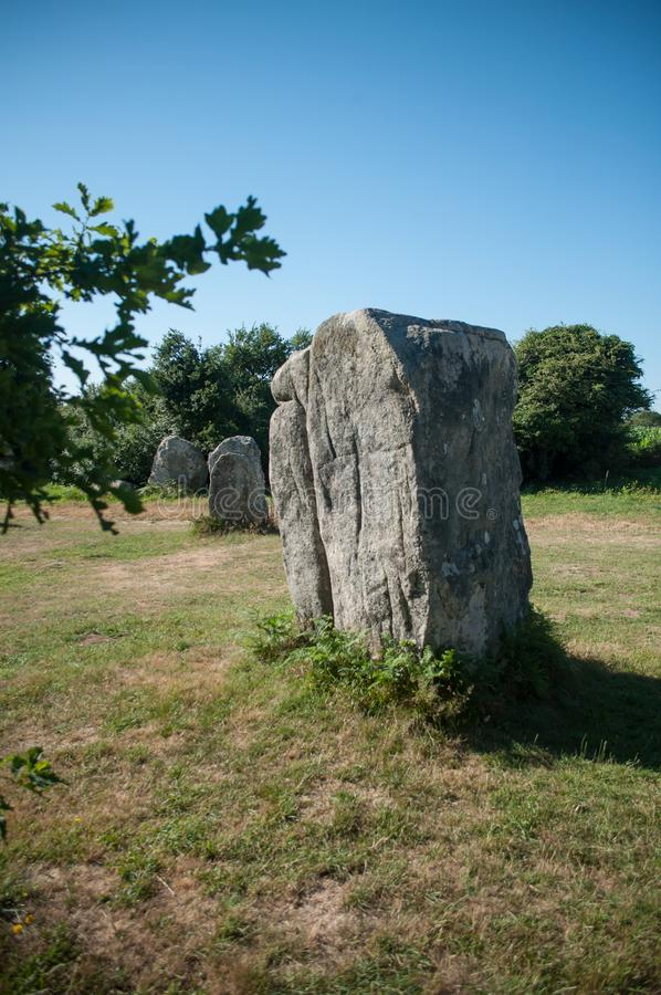 Famous megalith alignment in Carnac Brittany  France. View of famous megalith alignment in Carnac Brittany  France stock image