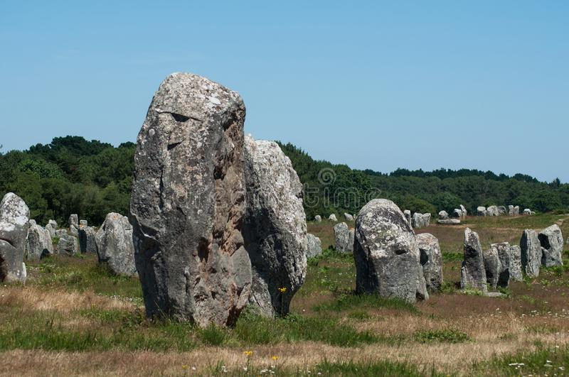 Famous megalith alignment in Carnac Brittany  France. View of famous megalith alignment in Carnac Brittany  France royalty free stock photography