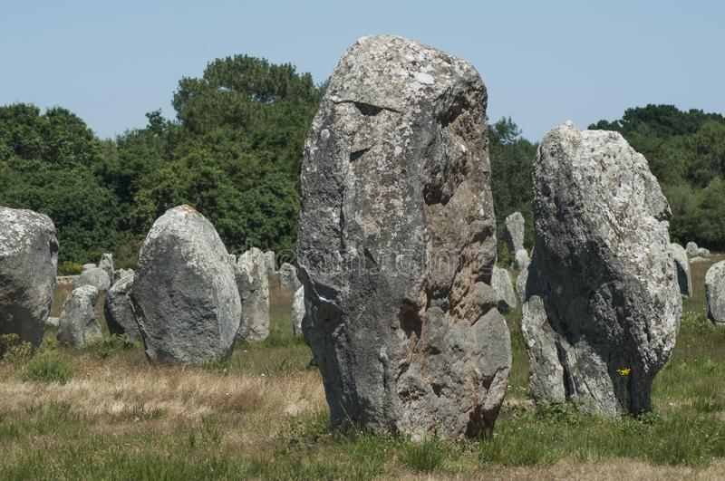 Famous megalith alignment in Carnac Brittany  France. View of famous megalith alignment in Carnac Brittany  France stock images