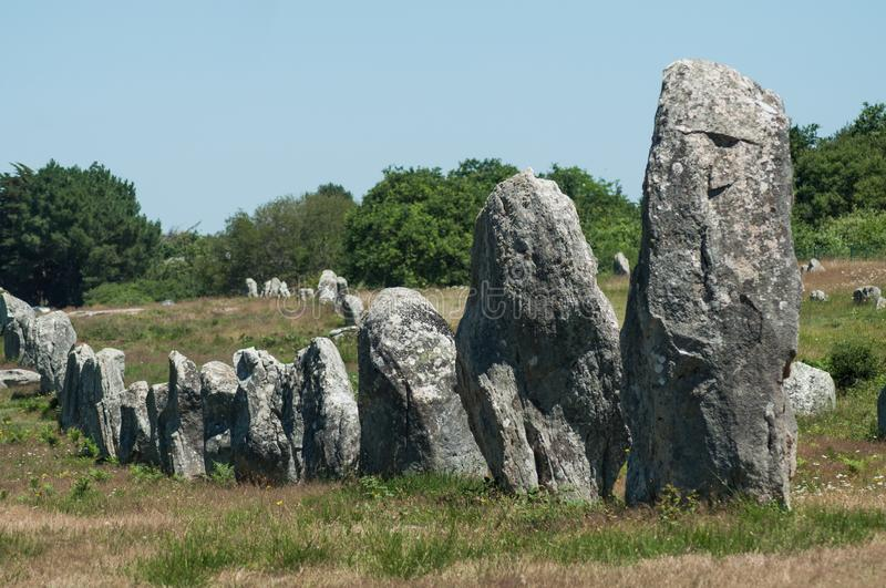 Famous megalith alignment in Carnac Brittany  France. View of famous megalith alignment in Carnac Brittany  France stock photo