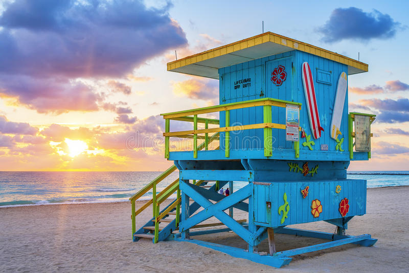 View of famous Miami South Beach sunrise. With lifeguard tower royalty free stock photography
