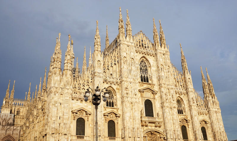 View of famous Milan Cathedral Duomo di Milano in Piazza del Duomo square, Milan, Italy royalty free stock photo