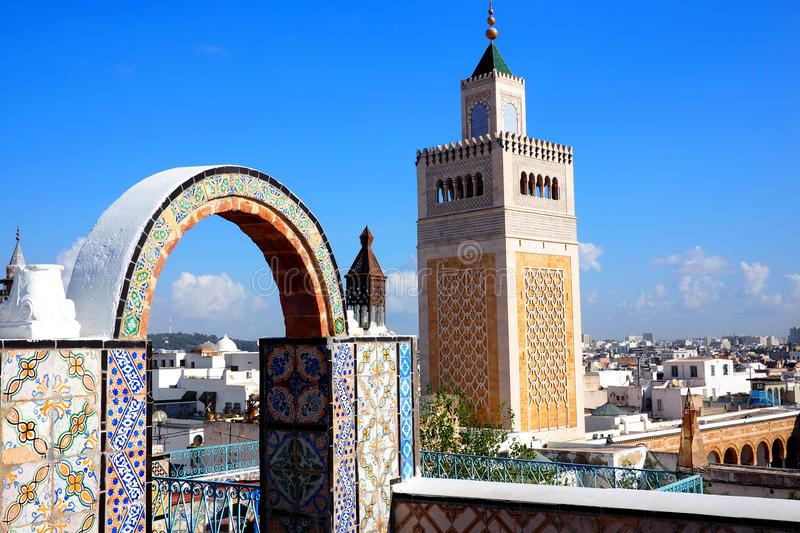 View of famous Mosque in Tunis, Tunisia. View of a famous Mosque and cityscape in Tunis, Tunisia stock image