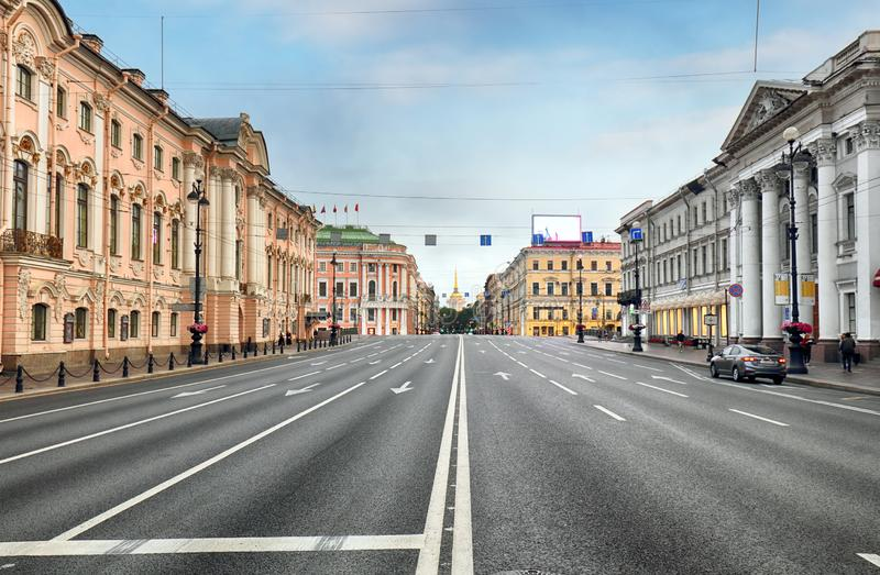 View of the famous Nevsky Prospect, Saint Petersburg.  royalty free stock images