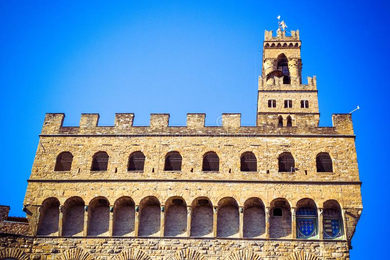 View of famous Palazzo Vecchio in Florence, Tuscany, Italy stock images