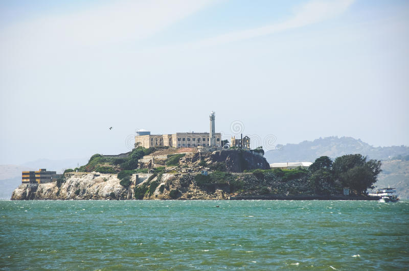 View of the famous prison Alcatraz from Pier 39, San Francisco, California, USA. View of the famous prison Alcatraz from Pier 39, San Francisco, California stock photography