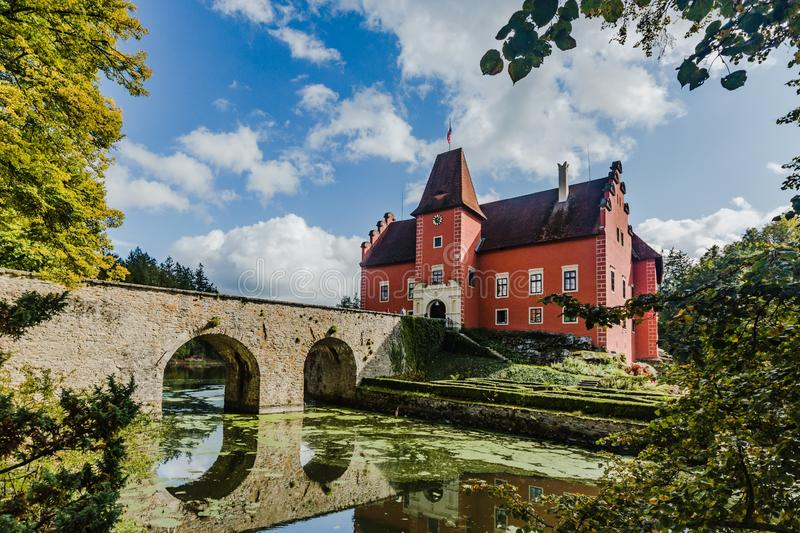 View of famous red castle Cervena Lhota in the Czech Republic royalty free stock photos