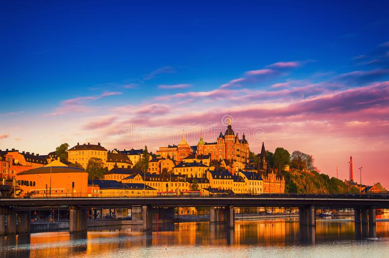 Stockholm city view at sunrise royalty free stock photography