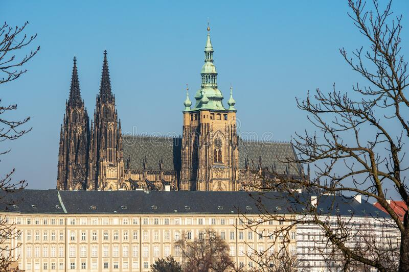 View of famous St. Vitus Cathedral in Prague, Czech Republic.  stock photo