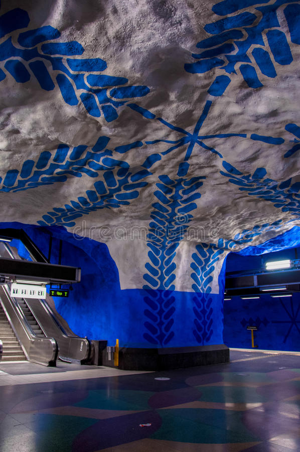 View of the famous Stockholm subway station `T-centralen` handpainted artwork by Per Olof U royalty free stock photography