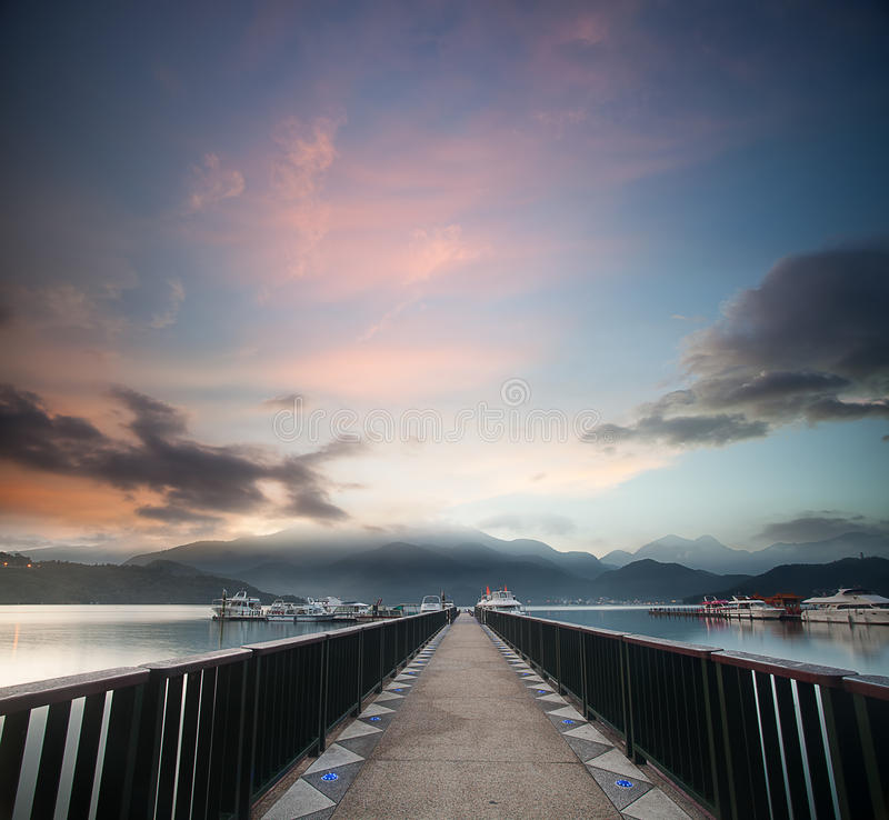 A view of the famous Sun Moon Lake. In Taiwan royalty free stock photos