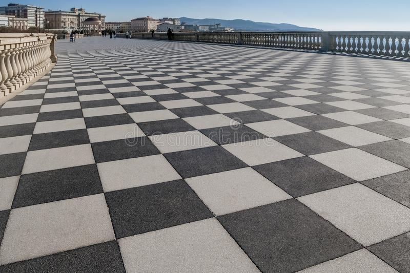 View of the famous Terrazza Mascagni in Livorno, Tuscany, Italy. Aerial view of the famous Terrazza Mascagni in Livorno, Tuscany, Italy, Europe royalty free stock photo