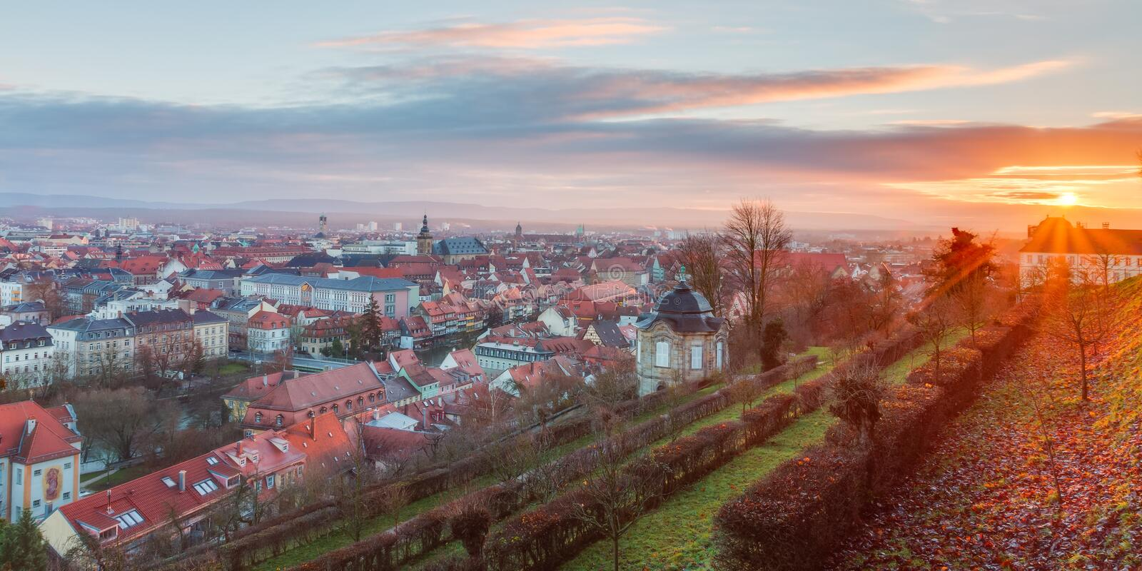 View on the famous tourism spot of Little Venice from the Michaelsberg in Bamberg. Panorama View on the famous tourism spot of Little Venice from the royalty free stock photo