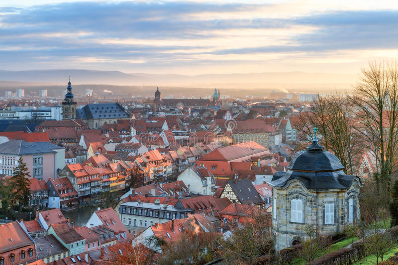 View on the famous tourism spot of Little Venice from the Michaelsberg in Bamberg. Panorama View on the famous tourism spot of Little Venice from the stock image