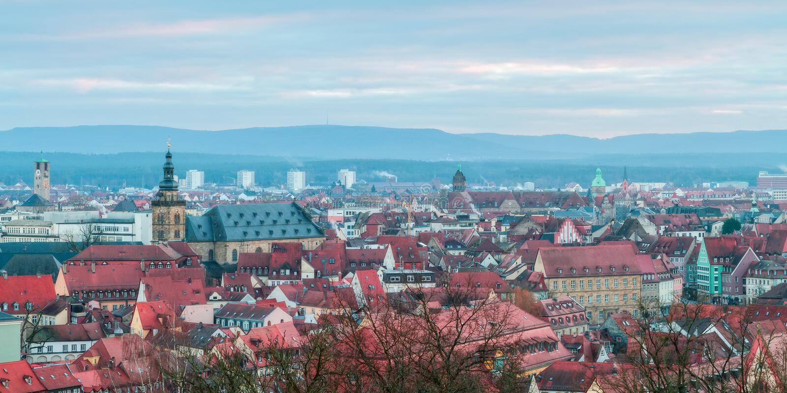 View on the famous tourism spot of Little Venice from the Michaelsberg in Bamberg. Panorama View on the famous tourism spot of Little Venice from the royalty free stock images